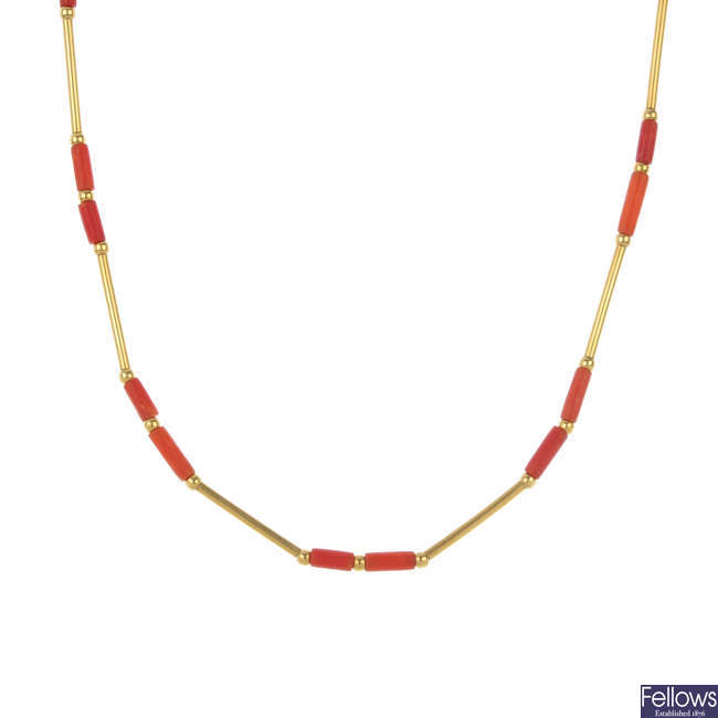 A set of coral jewellery.