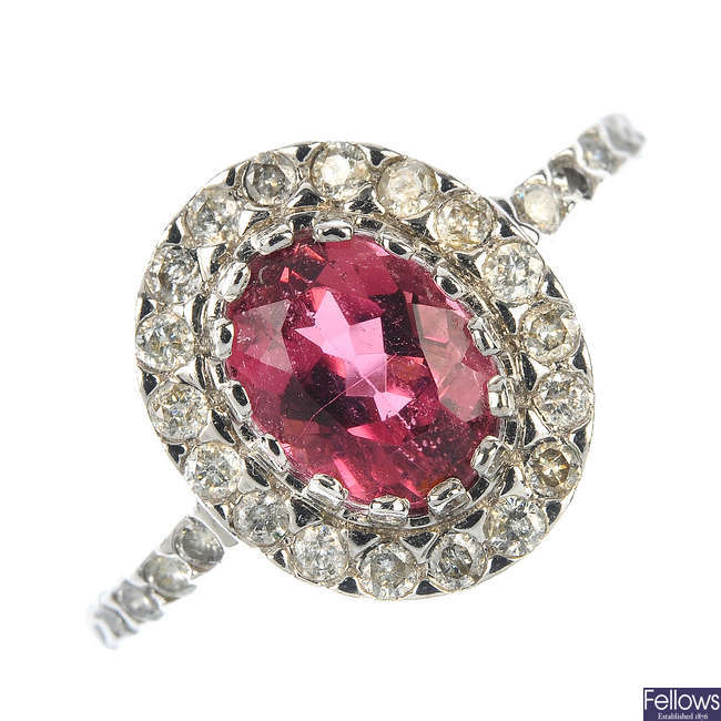 An 18ct gold tourmaline and diamond ring.