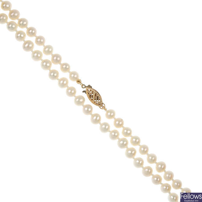 Three single-strand cultured pearl necklaces.