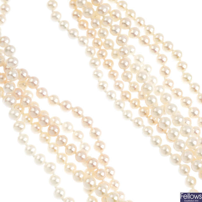 A group of six freshwater cultured pearl single-row necklaces.