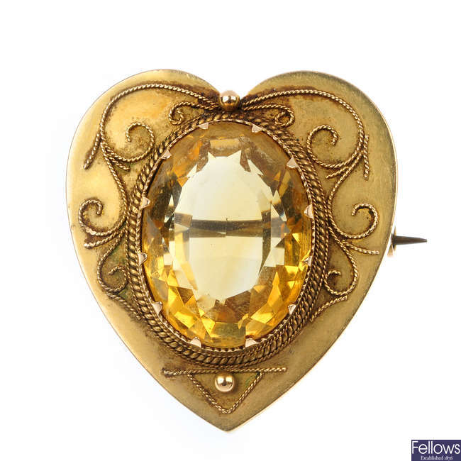A late 19th century 9ct gold citrine heart brooch.