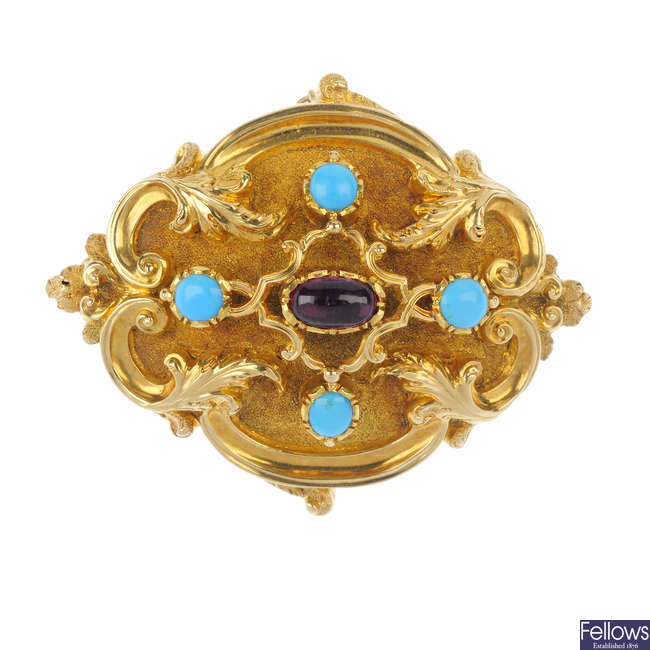 A late 19th century gold garnet and turquoise brooch.