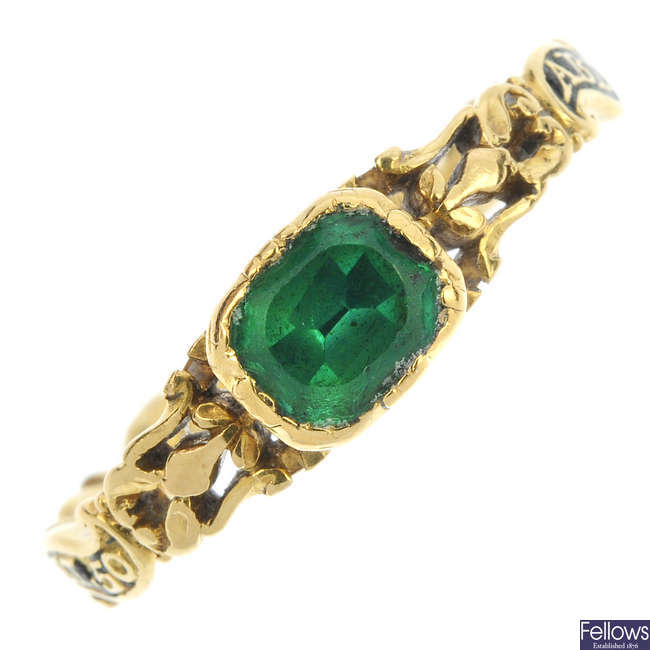 A mid 18th century gold beryl and enamel memorial ring.