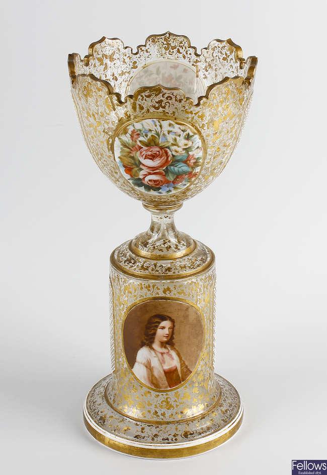 A Bohemian overlay clear glass vase