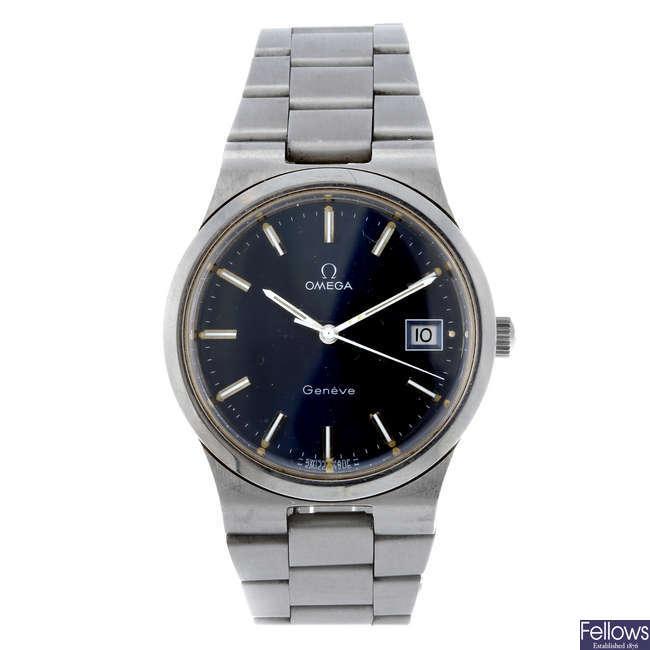 OMEGA - a gentleman's stainless steel Gen�ve bracelet watch.