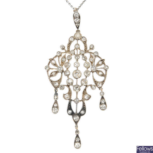 An early 20th century silver and gold diamond pendant.