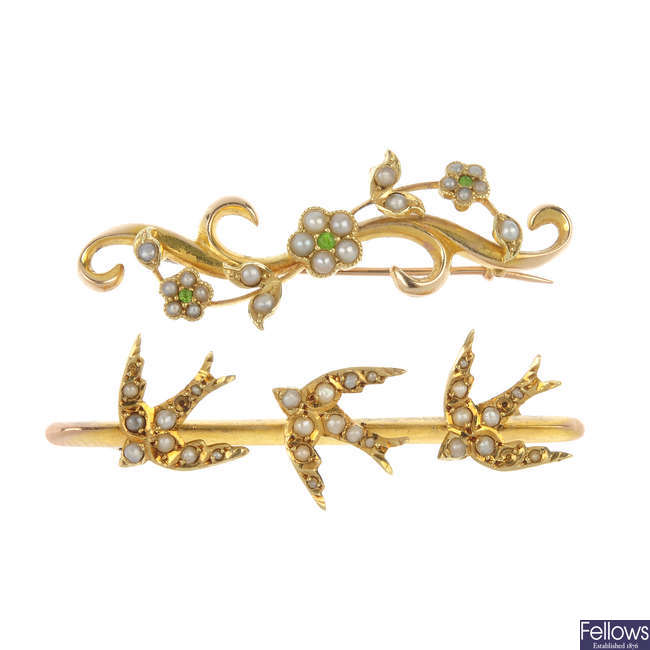 Two early 20th century gold gem-set bar brooches.