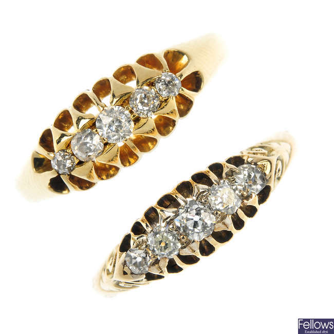 Two early 20th century 18ct gold diamond five-stone rings.