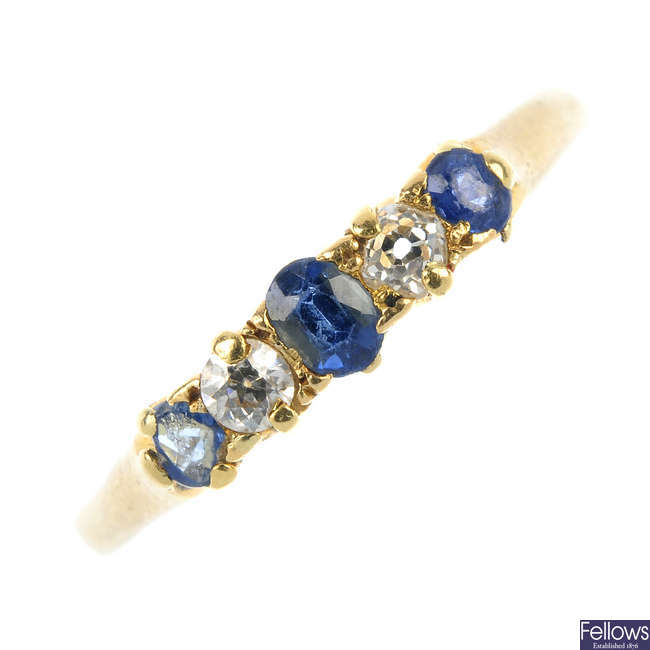 An early 20th century 18ct gold sapphire and diamond five-stone ring.
