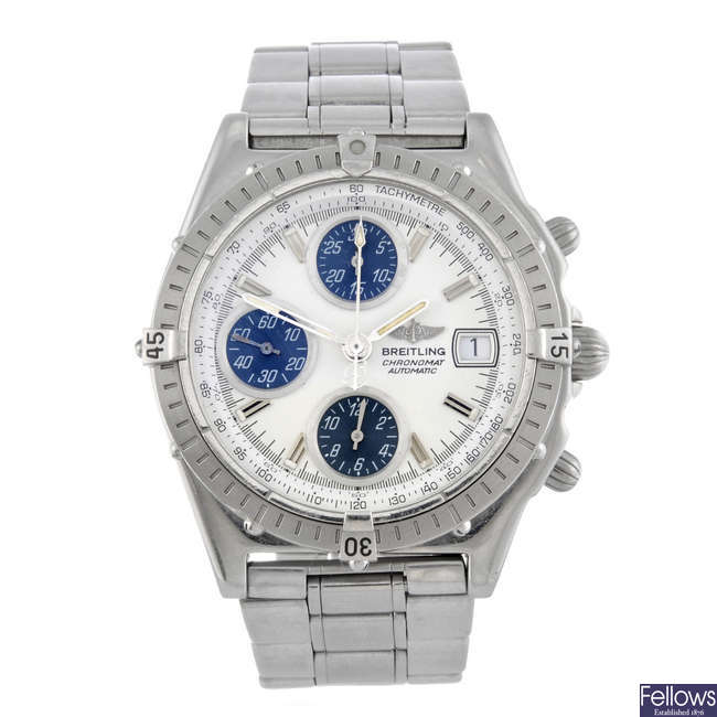 BREITLING - a gentleman's stainless steel Chronomat chronograph bracelet watch.