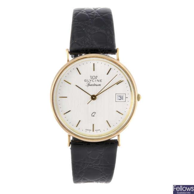 GLYCINE - a gentleman's yellow metal Spectrum wrist watch.
