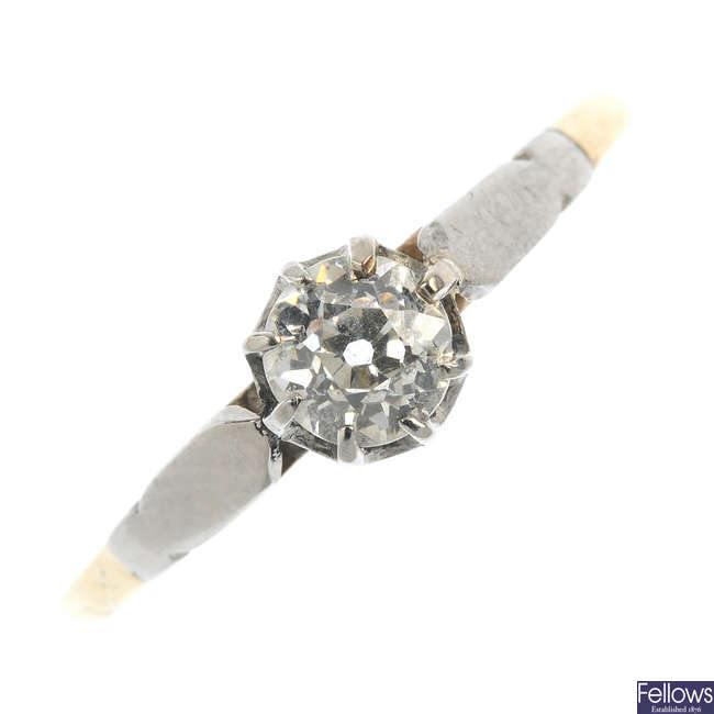A mid 20th century 9ct gold diamond single-stone ring.