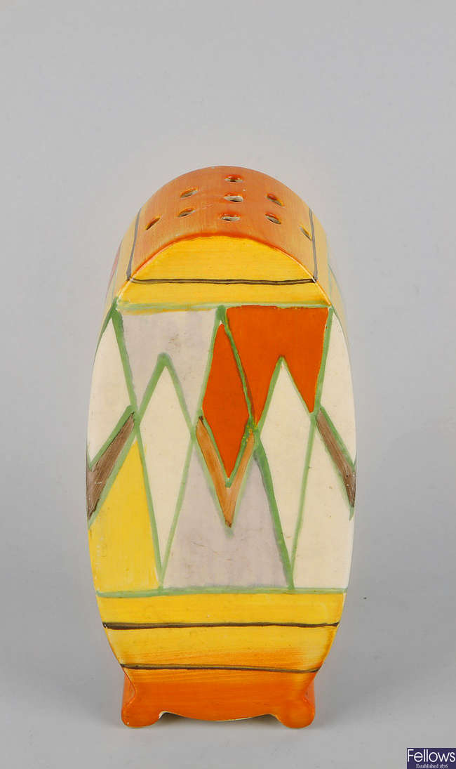 A Clarice Cliff 'Bonjour' sugar sifter