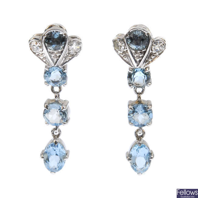 A pair of aquamarine and diamond ear pendants.