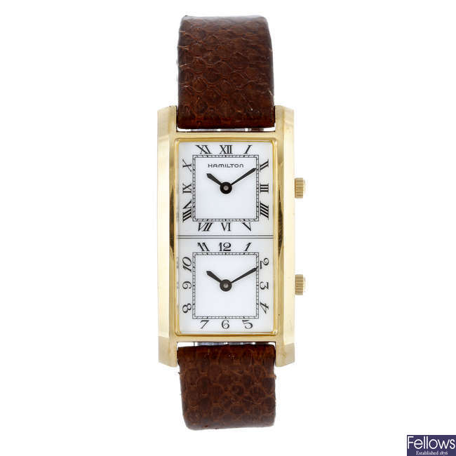 HAMILTON - a gentleman's gold plated wrist watch.