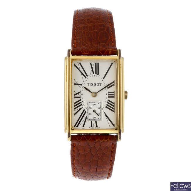 TISSOT - a gentleman's gold plated wrist watch.