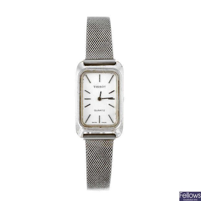 TISSOT - a lady's nickel plated bracelet watch.