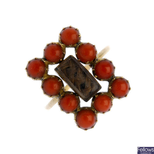 A late 19th century coral memorial ring.