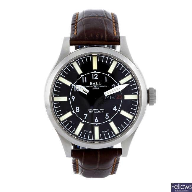 BALL - a gentleman's stainless steel wrist watch.