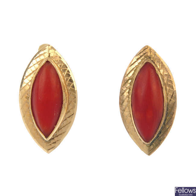 A pair of coral earrings and a single late 19th century 18ct gold opal and diamond ear stud.