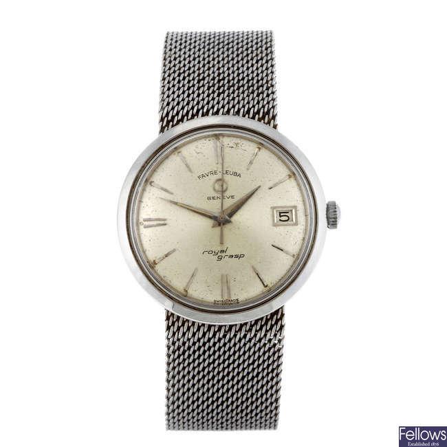 FAVRE-LEUBA - a gentleman's stainless steel Royal Grasp bracelet watch with a Bulova and Omega.