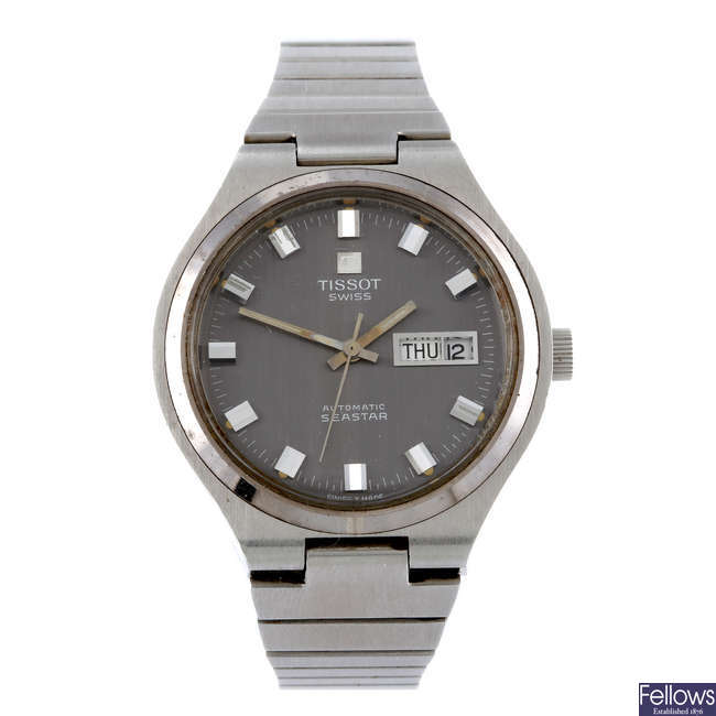 TISSOT - a gentleman's stainless steel Seastar bracelet watch with two Tissot wrist watches.
