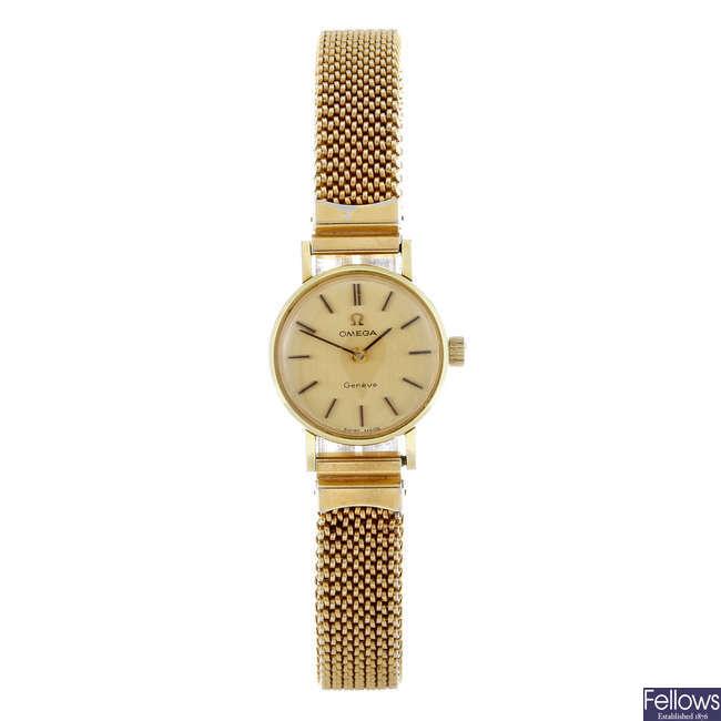 OMEGA - a lady's gold plated Gen�ve bracelet watch.