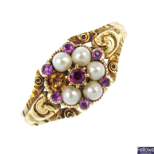 A late 19th century gold gem-set ring.