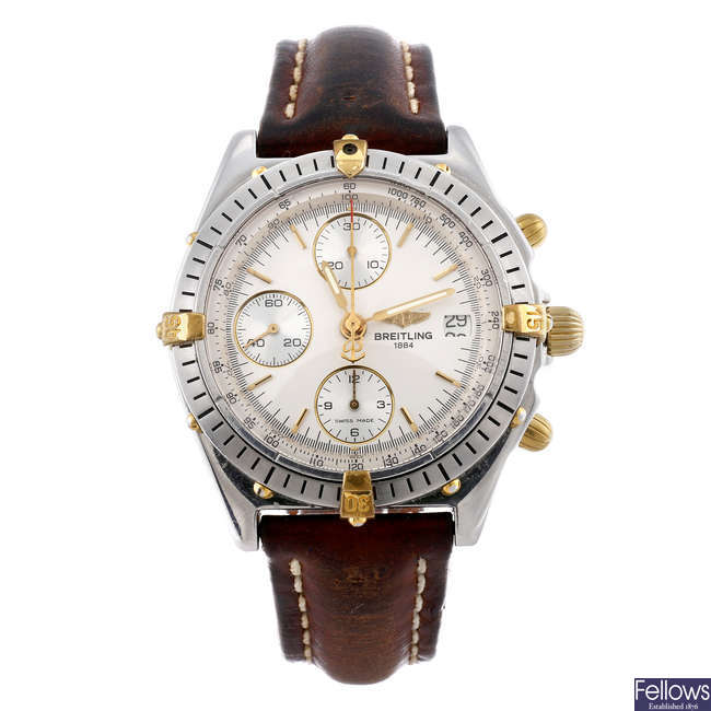 BREITLING - a gentleman's stainless steel Chronomat chronograph wrist watch.