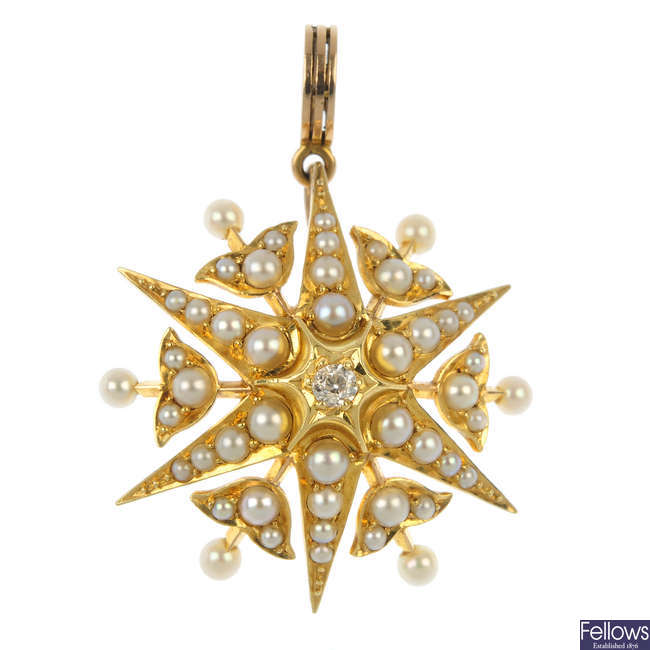 An early 20th century gold diamond, split and seed pearl pendant.