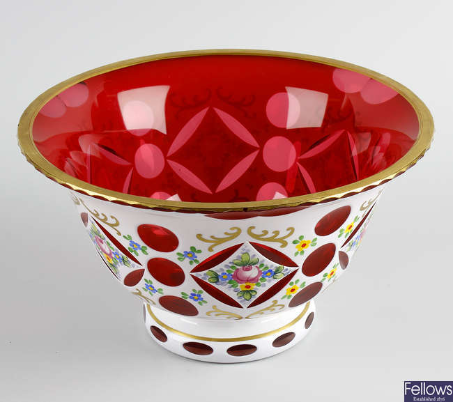 A Bohemian white flash overlay cranberry glass bowl