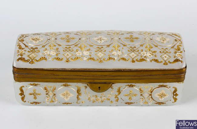 An opaline glass and gilt mounted casket
