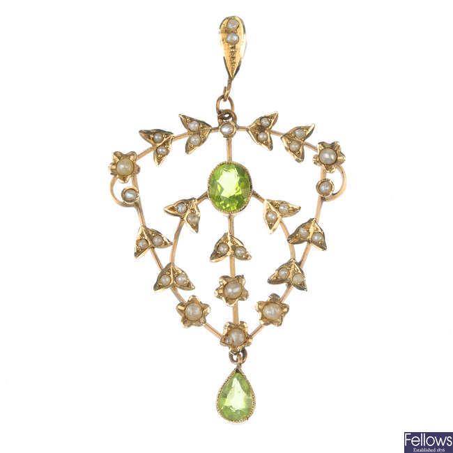 A peridot and split pearl pendant.