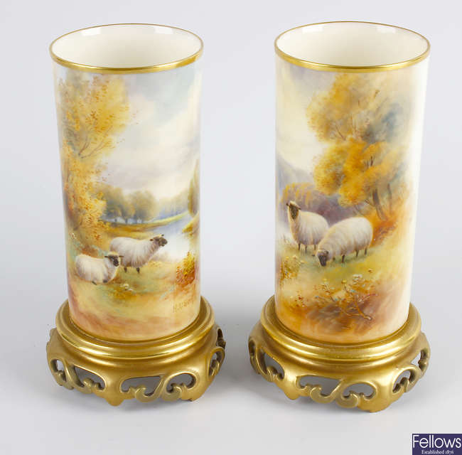 A good pair of Royal Worcester porcelain 'tusk' vases hand-painted by Harry Davis.