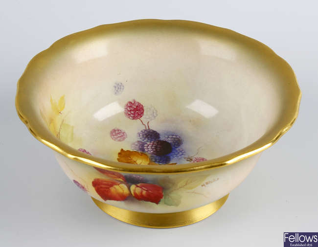 A Royal Worcester porcelain bowl painted by Kitty Blake