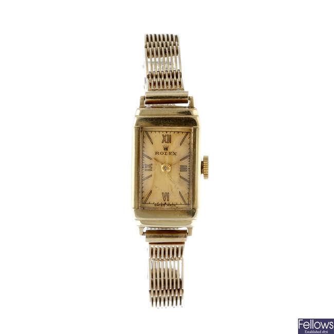 ROLEX - a lady's 9ct yellow gold bracelet watch.