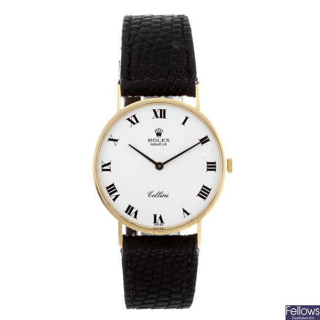 ROLEX - a gentleman's Cellini 18ct yellow gold wrist watch.