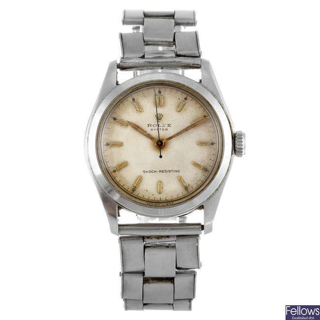ROLEX - a gentleman's stainless steel Oyster bracelet watch.