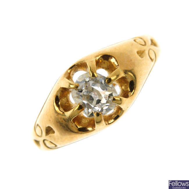 A late Victorian 18ct gold diamond single-stone ring.