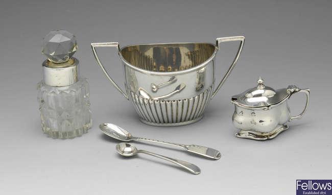 A late Victorian sugar bowl, Edwardian mustard pot, George IV mustard spoon, scent bottle, etc.