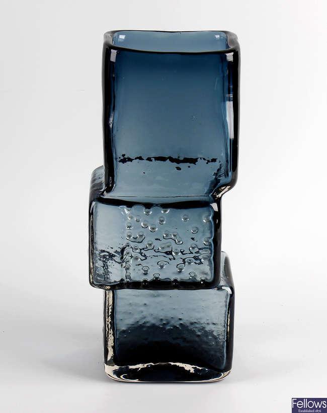 A rare large 1960s  Whitefirars indigo glass 'drunken bricklayer' vase
