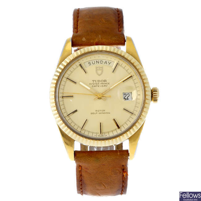 TUDOR - a gentleman's gold plated Oyster Prince Date-Day wrist watch.