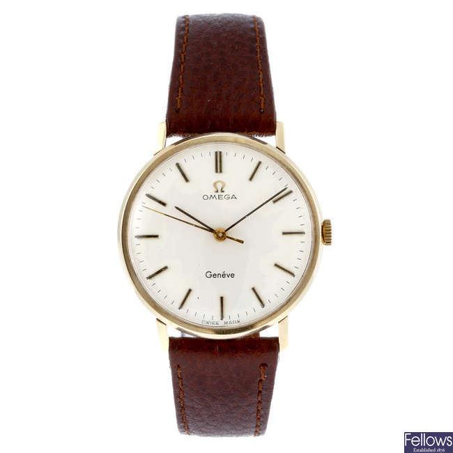 OMEGA - a gentleman's 9ct yellow gold Gen�ve wrist watch.