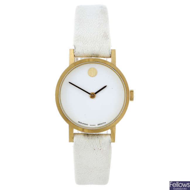 MOVADO - a lady's gold plated Museum wrist watch.