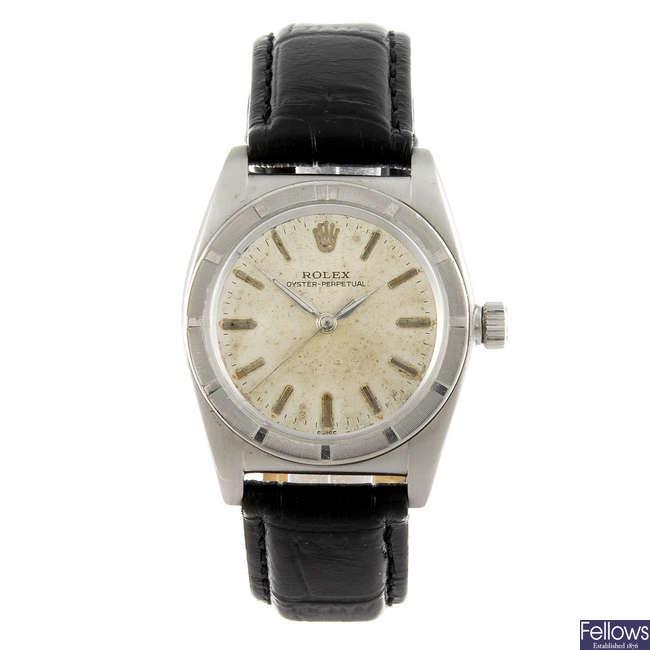 ROLEX - a gentleman's stainless steel Oyster Perpetual wrist watch.