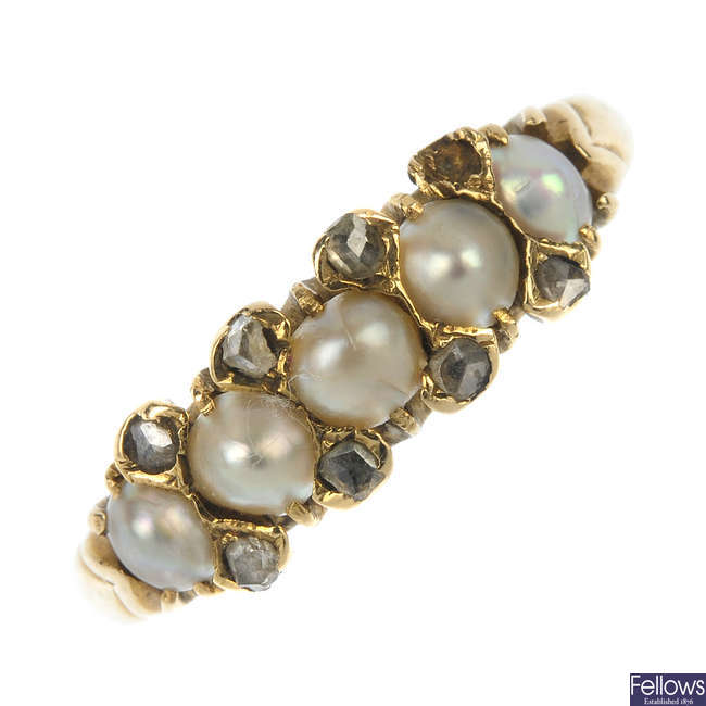 An early 20th century gold split pearl and diamond ring.