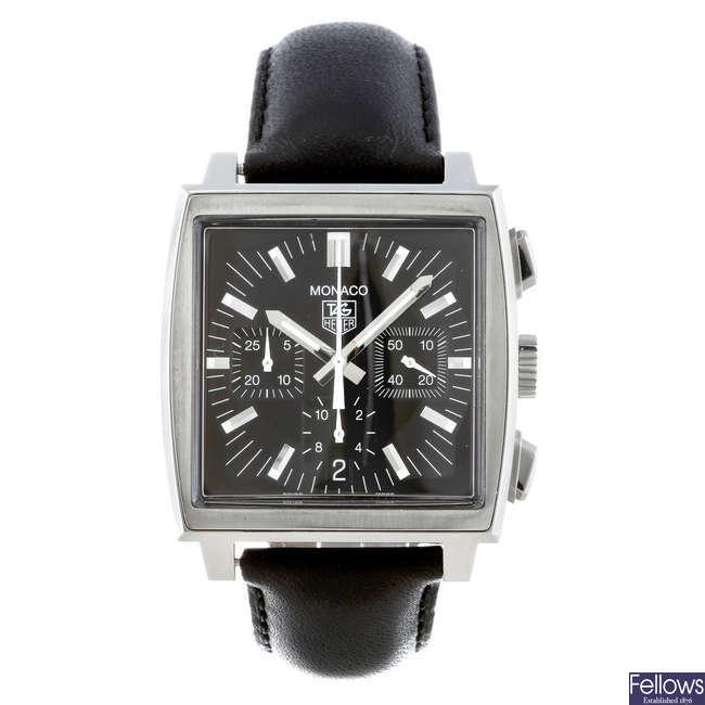 TAG HEUER - a gentleman's stainless steel Monaco chronograph wrist watch.