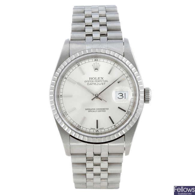 ROLEX - a gentleman's stainless steel Oyster Perpetual Datejust bracelet watch.