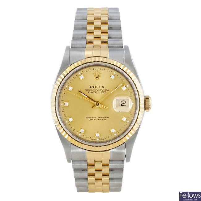 ROLEX - a gentleman's bi-metal Oyster Perpetual Datejust bracelet watch.