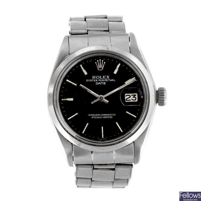 ROLEX - a gentleman's stainless steel Oyster Perpetual Date bracelet watch.